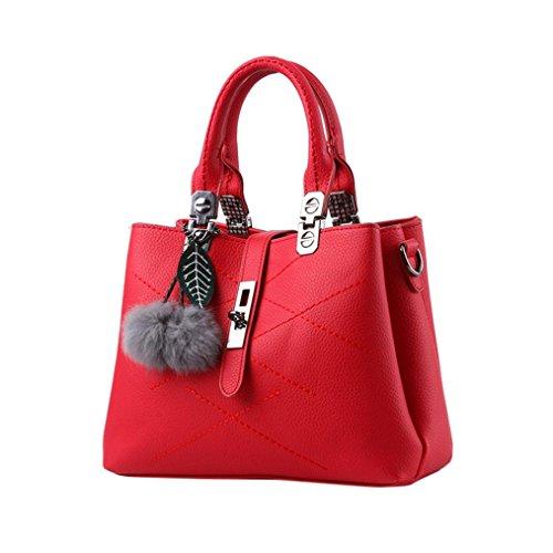 Longra Moda Donna Pelle artificiale Foglie di capelli Decorazione palla Vite fibbia borsa a tracolla Messenger Bag Borsa Tote Bag Vino Rosso