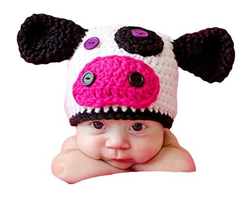 Neugeborenes Baby Mädchen häkeln Kostüm Outfits Fotografie Requisiten niedlichen Kuh Hut 0-6 Monate (0 6 Monate Kuh Kostüm)