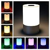 Smart Nachttischlampe Nachtlicht Touch Dimmbare wiederaufladbares Tischlampe mit 256 RGB Farbwechsel Stimmungslicht 3 Helligkeitsstufen