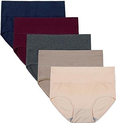 INNERSY Damen Unterwäsche 5Pack Hohe Taille Einfarbig Grundlegende Stil Tummy Control Cotton Briefs Höschen