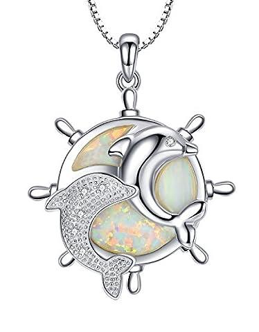 Collier en argent sterling pendentif pour les femmes et les filles, dauphin et la roue de navire avec opale de feu et de la zircone cubique, Maille vénitienne 46cm - SC194n1