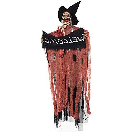 Halloween Prop Hanging Ghost Skeleton Leuchten Augen Scary Voice Willkommensschild Horror Indoor Outdoor Dekoration Haunted House Halloween Night Decor