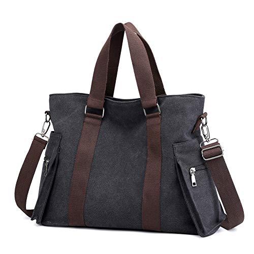 Valleycomfy Damen Taschen Groß Segeltuch Handtaschen Umhängetasche Bowlingtaschen Henkeltaschen Shopper Schultasche (Schwarz)