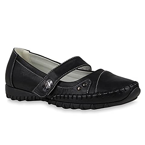 Bequeme Damen Mokassins Metallic Slipper Velours Leder-Optik Flats Profilsohle Fransen Knöpfe Schuhe 116377 Schwarz Agueda 38 | Flandell®