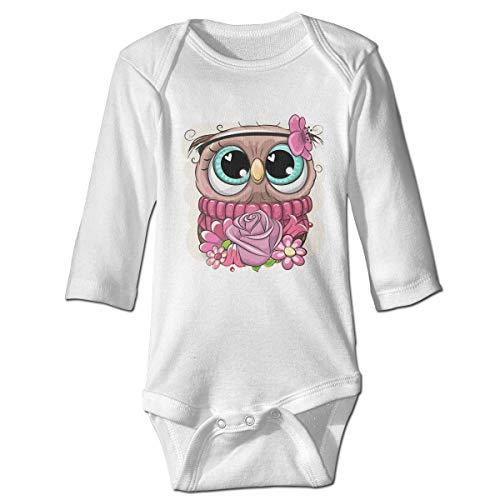 Monicago Neugeborenes Baby Jungen Mädchen Babybody Langarm, Baby Boys Girls Bodysuit Cartoon Owl with Flowers Jumpsuit Onesies Long Sleeve Unisex