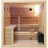 Cabine de Sauna en Bois Canadien 220×200×210cm parois en Verre 8mm Pierres Naturelles