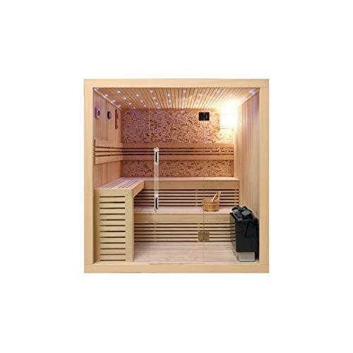Desineo Saunakabine aus kanadischem Holz, 220 x 200 x 210 cm, Glaswände, 8 mm Natursteine