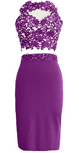 MACloth Gorgeous 2 Piece Jersey Cocktail Dress Short Prom Homecoming Formal Gown Amethyst