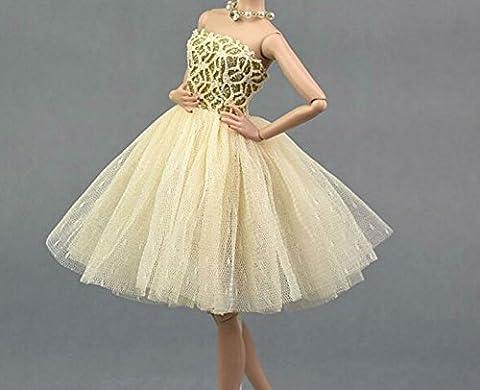 AK20 Schöne und modische Handgefertigte Puppe Kleidung für Barbie Puppen/kleid/Pyjama/Puppenzubehör Dress Up/Spitzenkleid (gelb 1)