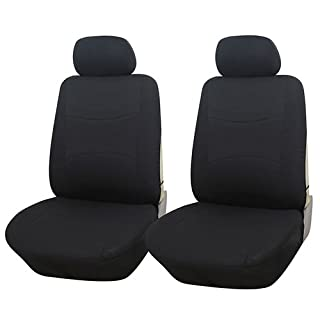 Adeco 4-Piece Car Vehicle Front Seat Protective Covers, Universal Fit, Solid Black by Adeco