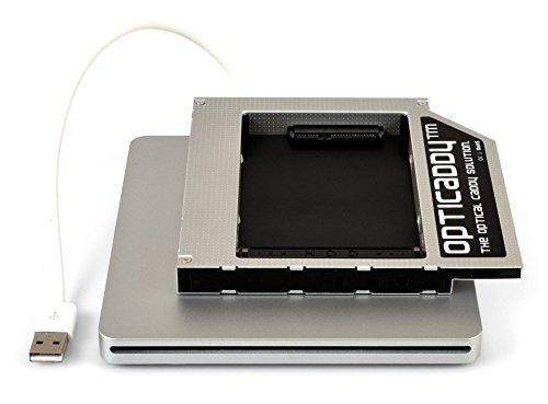 """Opticaddy© SATA-3 HDD/SSD Caddy Adaptador SET y caja para Superdrive externo USB para Apple iMac (2006, 2007, 2008), Mac Mini (2006, 2007), MacBook Pro 17' (2006, 2007, 2008) PATA a SATA - reemplaza SuperDrive, viene con tecnología """"OptiSpeed"""" (adaptador Opticaddy originales)"""