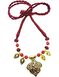 Oxidised German Silver/fashion/Antique Jewellery Gold Maroon Orange Necklace Set For Women And Girls