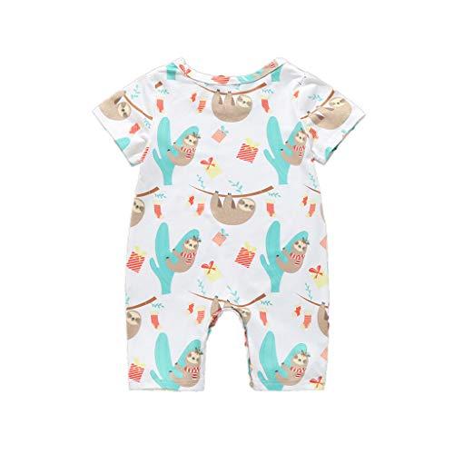 0-24 Monate Babykleidung,Neugeborenes Baby Kleidung Cartoon Animal Drucken Overalls Junge Kurzarm Baby Schlafanzug(Braun,6-12 Monate/80)