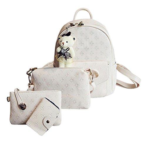 Malloom® Mode Leder Nette Schultertasche Schulrucksäcke Cardbags Für Frauen Mädchen Damenmode Rucksack Vier-Set + Messenger Bag + Clutch + Geldbörse (weiß) -