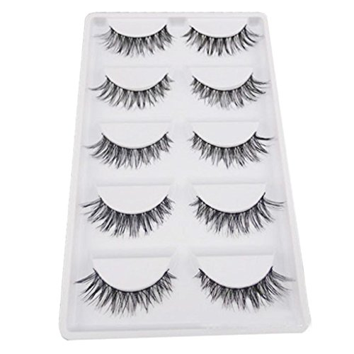 Internet 5 Pair / Lot Criss Cross Faux Cils Cils Cils HOT Volumineux Artificiel