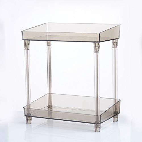 WEMUR Bad eitelkeit kosmetik transparent regal kunststoff desktop finishing rack badezimmertisch doppelter lagerregal 33 * 29cm (Doppelte Bad Eitelkeit)