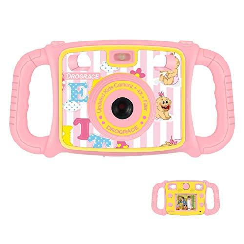 DROGRACE Cámara Infantil 1080P HD Niños Digital Video Cámara con 4 x Zoom, Flash Lights, 2 Pulgadas LCD y Asas para Niñas Cumpleaños Regalo de Vacaciones – Rosa