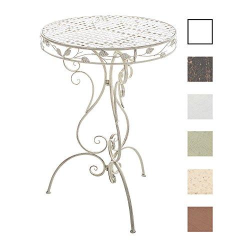 CLP Eisen-Stehtisch Aldora im Jugendstil I Gartentisch mit geschwungenen Beinen I in Verschiedenen Farben erhältlich Antik Weiß