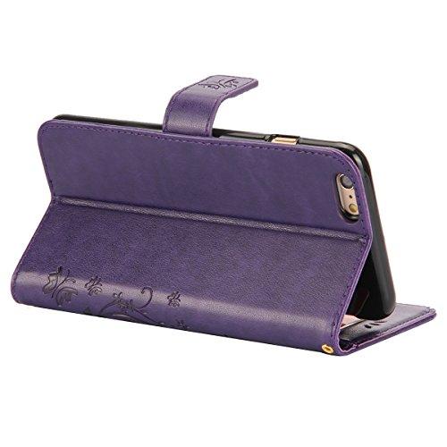 ISAKEN Custodia iPhone 6 Plus, Cover iPhone 6S Plus, Elegante borsa Custodia in Pelle Protettiva Flip Portafoglio Case Cover per Apple iPhone 6 Plus (6 5.5) / con Supporto di Stand / Carte Slot / Chi Butterfly: violet