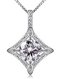 B.Catcher Collar Plata de ley 925 Diamond Square Circón Collar Colgante De Para eterno Amor Regalo