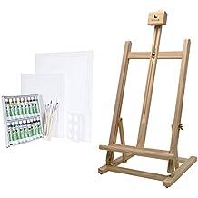 Artina - Caballete de mesa Sydney (pino) - Con set de pintura: 18 acuarelas/2 lienzos/5 pinceles/paleta de mezclas