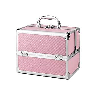 AMASAVA Mallette Maquillage Beauty Case Valise Maquillage Coffret cosmétique Boîte à Maquillage avec Miroir et clé Coffrets Professionnelle - 25.5 × 19.5 × 22cm(Rose)