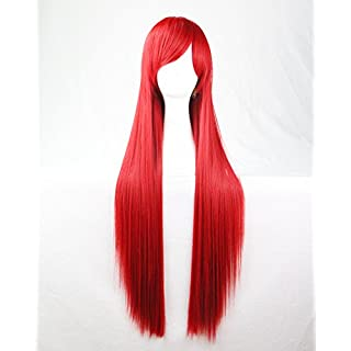 Womens Ladies Girls 80cm Red Color Long Straight Wigs High Quality Hair Carve Cosplay Costume Anime Party Bangs Full Sexy Wigs