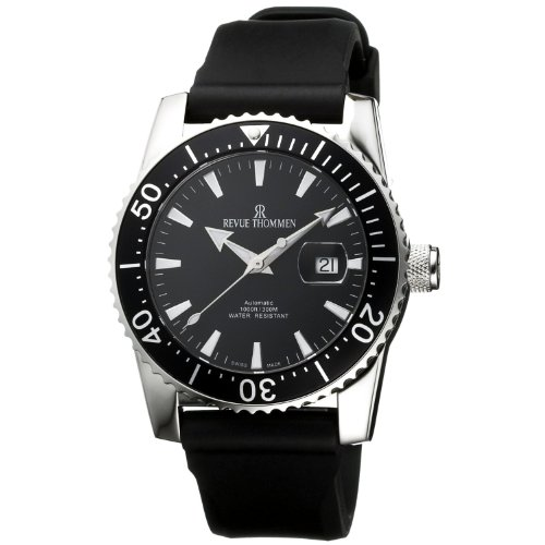 Revue Thommen Men's Automatic Watch with Black Dial Analogue Display and Black Plastic or PU Strap 17030.2537