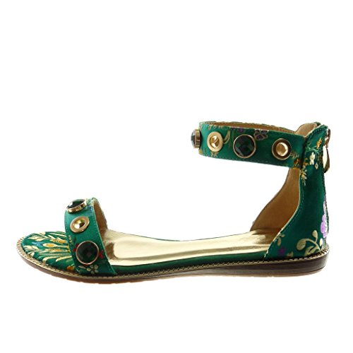 Vert Chaussure 1 Angkorly Bijoux 5 Femme Talon Cheville Mode Lanière Cm Compensé  Sandale Brodé Fleurs FdgxS6gq 03516e2ce65f