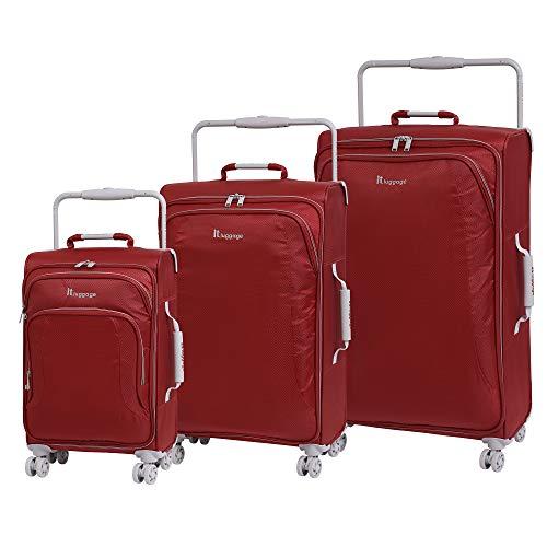 It luggage - Set di 3 valigie ultraleggere a 8 ruote New York, 80 cm, Bossa Nova (Rosso) - 22-0935i08GLO3N-S425