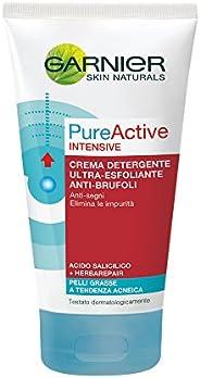 Garnier Pureactive Intensive, Detergente Esfoliante Anti-Brufoli, 150 ml