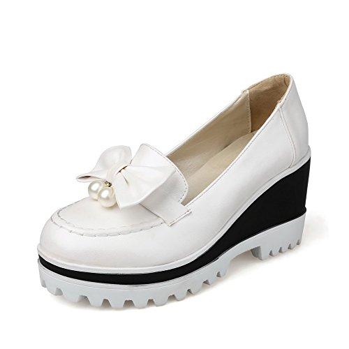 AllhqFashion Damen Rund Zehe Hoher Absatz Ziehen Auf Rein Pumps Schuhe Weiß