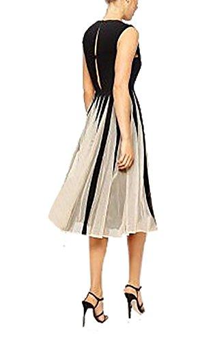 Damen Elegant Rundkragen Chiffon Lässig Cocktailkleid Minikleid Ärmellos Swingkleider Kleid Partykleid Strandkleider Abschlussballkleid Sommerkleid Schwarz