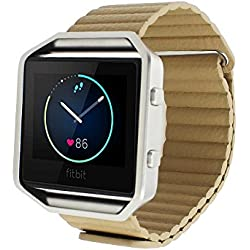 Tping Fitbit Blaze Watch Band Leather Loop Replacement Watch Strap Bracelet with Adjustbable Magnetic Closure for Fitbit Blaze Smart Fitness Watch (Beige)