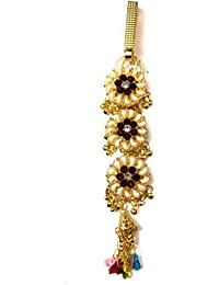 Gold Plating CZ Diamond And Maroon And Green Stone Challa/Chabi Challa Waist Key Chain For Women Girls
