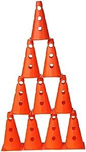 agility sport pour chiens - lot de 10 cônes avec trous, 23 cm, orange - 10x MZK23o