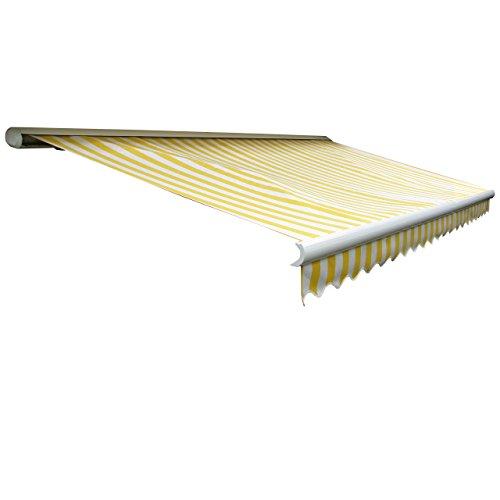 Mendler Elektrische Kassetten-Markise T122, Vollkassette Volant 4x3m ~ Acryl Gelb/Weiß