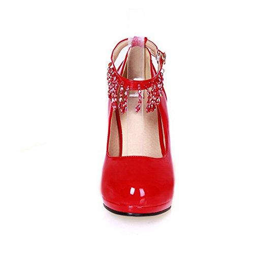 ... VogueZone009 Donna Punta Tonda Tacco Alto Pelle Di Maiale Puro Fibbia  Ballerine Rosso ...