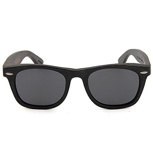Sonnenbrillen Mode Herren Sonnenbrillen Vintage handgefertigte Bambus Sonnenbrillen dunkle Farbe polarisierte TAC Objektiv UV Schutz Fahren Urlaub Angeln Strand Sonnenbrillen ( Farbe : Schwarz ) (Dunkle Schwarze Sonnenbrille)