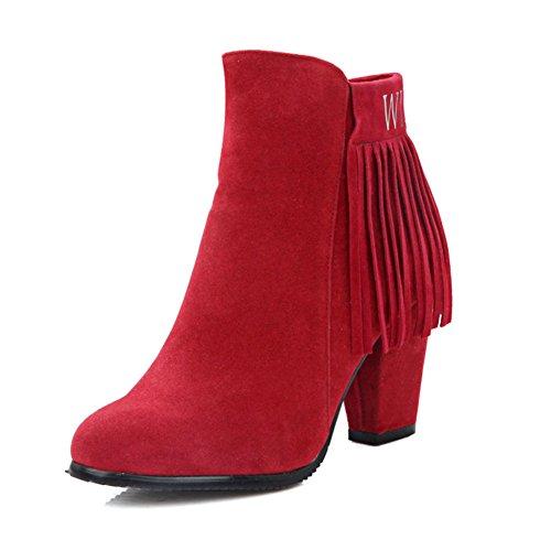 Spessore nappa breve stivali/ macchia tacco alto stivali invernali/ versione coreana di Martin stivali/ casual stivaletti lampeggia-D Lunghezza piede=26.3CM(10.4Inch)