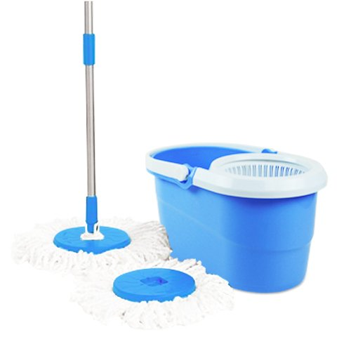 AndAlso Blue 360° Spin Mop Rotating Pole & Bucket 'No Foot Pedal' with 2 Microfiber Heads (multi Colour)