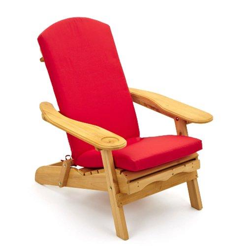 Fauteuil d'extérieur inclinable avec coussin de luxe rouge