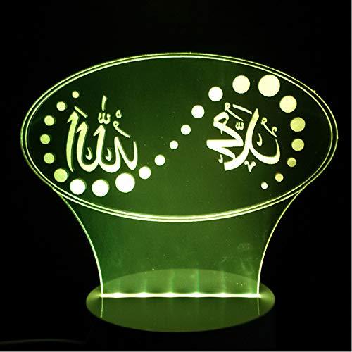 Shuyinju 3D Weihnachtsgeschenk 7 Farbwechsel Stimmung Led Islam Lampe Gott Allah Segnen Koran Arabisch Modellierung Schreibtisch Usb Nachtlicht Kind Schlaf Beleuchtung