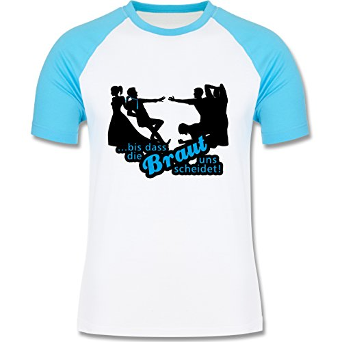 JGA Junggesellenabschied - Bis dass die Braut uns scheidet - zweifarbiges Baseballshirt für Männer Weiß/Türkis