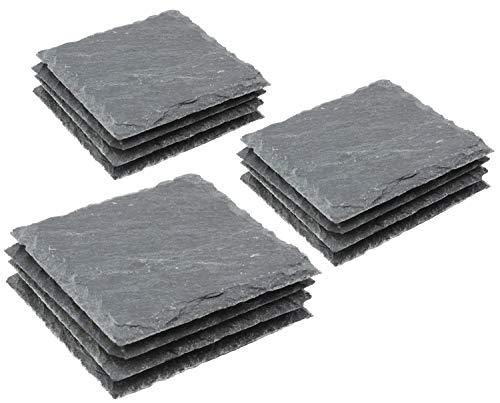 Com-four® 12x sottobicchiere in ardesia naturale con piedini in gomma antiscivolo, 10 x 10 cm (12 pezzi - ardesia)