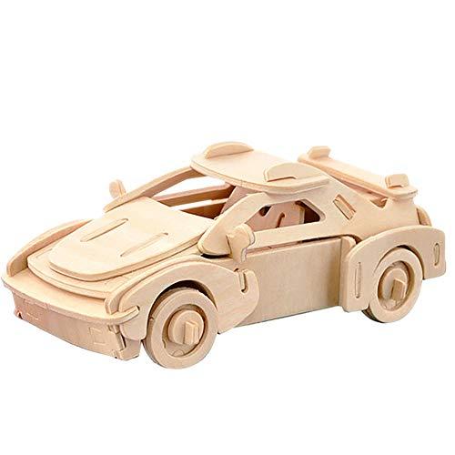 ouken 3D Holzpuzzle Gebäude Holz-Handwerk Kits Rätsel Puzzles Lernspielzeug DIY Spielzeug für Kinder und Erwachsene - Auto Holz Puzzles