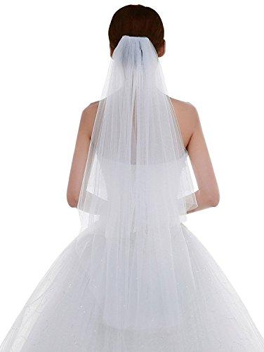 Schleier Hochzeit Eine Tier-soft-tüll (Edith qi 2 Schicht Damen Einfach und Elegant Tüll Brautschleier Kurzer Hochzeitsschleier mit Kamm)