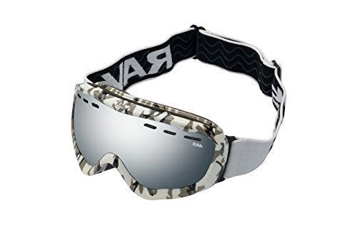RAVS Downhill Snowboardbrille Skibrille Rahmen Camouflage Silver Disc Scheibe