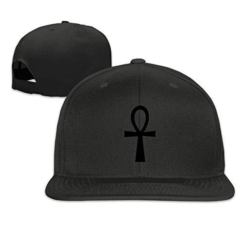 Black Ankh Cross Symbol Unisex Adjustable Flat Bill Visor Hip-Hop Hat (Flat Hats Bill Anime)