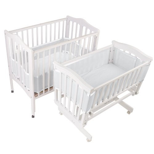 BreathableBaby Breathable Bumper for Portable and Cradle Cribs (White)